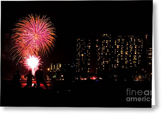 Waikiki Fireworks Greeting Card