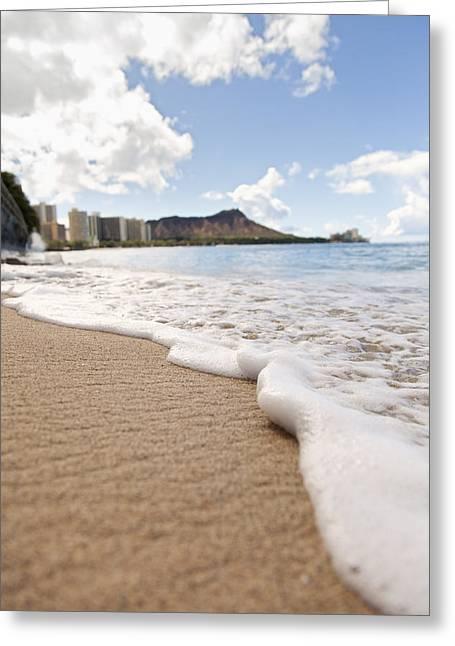 Waikiki Shore Greeting Card by Brandon Tabiolo