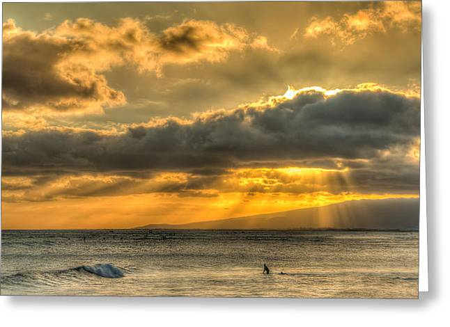 Waikiki Stand Up Paddle Greeting Card by Tin Lung Chao