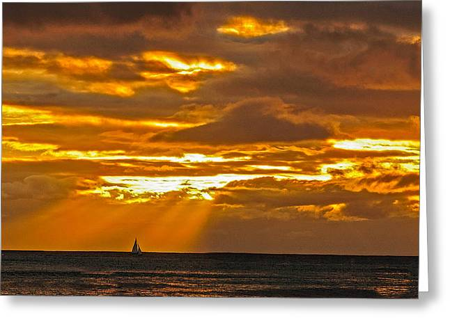 Waikiki Sun Set Greeting Card
