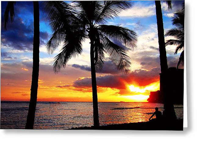 Waikiki Sunset Greeting Card