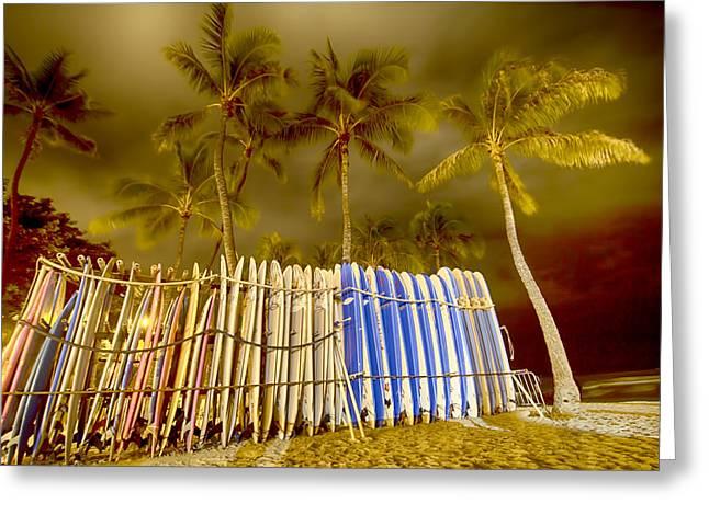 Waikiki Surf Greeting Card by Douglas Barnard