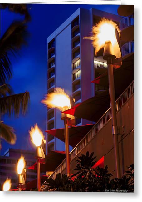 Greeting Card featuring the photograph Waikiki Tiki Torches by Aloha Art