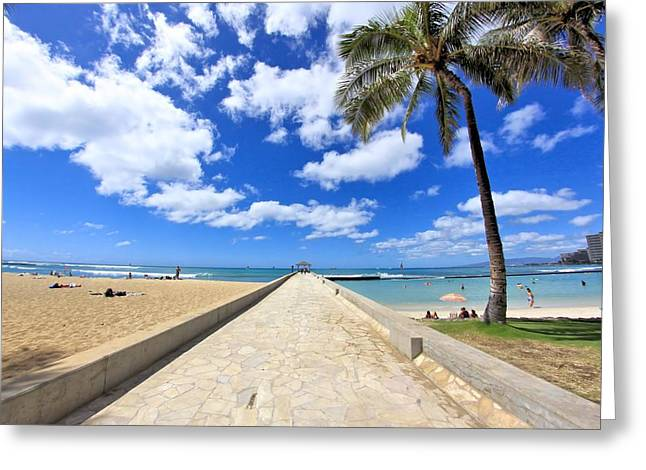 Waikiki Wall Greeting Card by DJ Florek