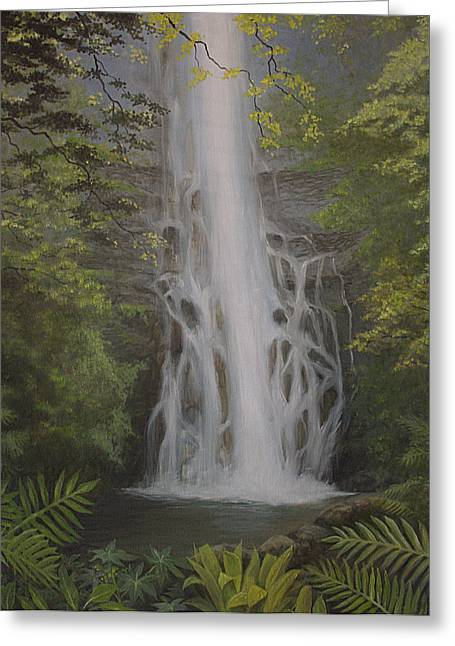 Wailua Falls Greeting Card by Wallace Kong