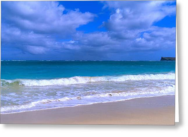 Waimanalo Beach Park Manana Island Oahu Greeting Card