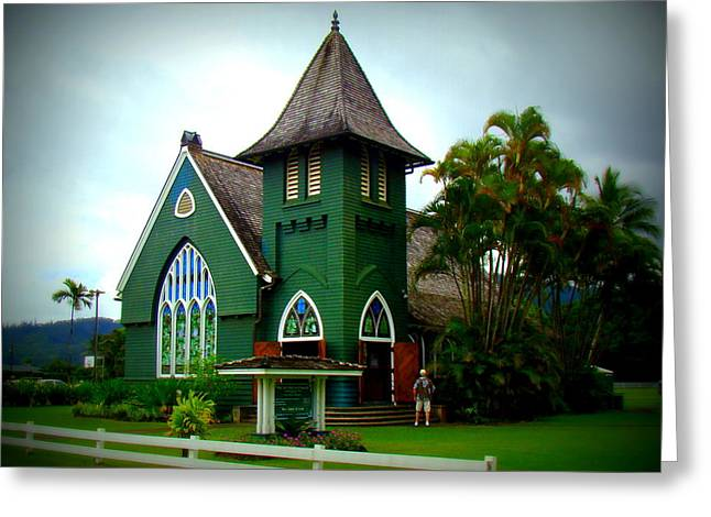 Waioli Huiia Church In Hanalei Kauai Greeting Card by Melinda Baugh