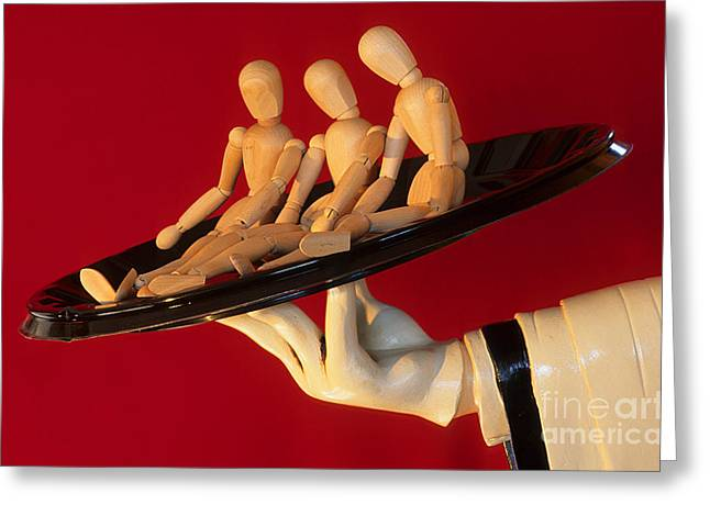 Waiter Serving 3 Dummies Greeting Card by Bob Christopher