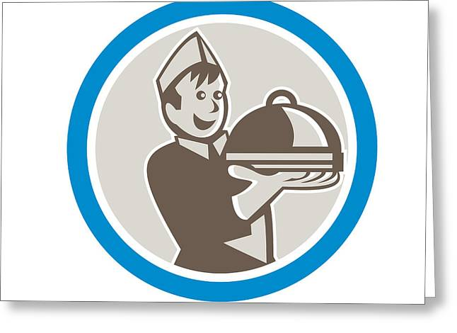 Waiter Serving Food On Platter Retro Greeting Card by Aloysius Patrimonio