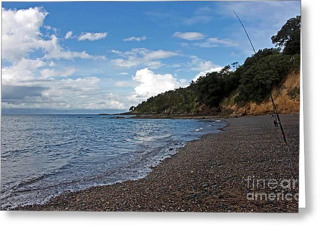 Waiti Bay Fishing Greeting Card by Gee Lyon