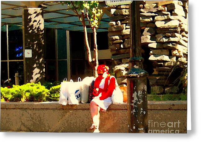 Waiting At The Stop Stationnement Debarcadere Seulement Urban Montreal City Scene Carole Spandau Greeting Card