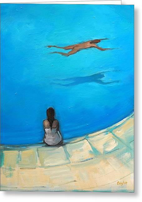 Waiting By The Pool Greeting Card by Angela Ooghe