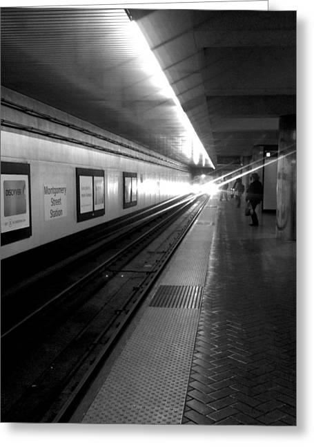 Waiting For Bart -black And White Greeting Card