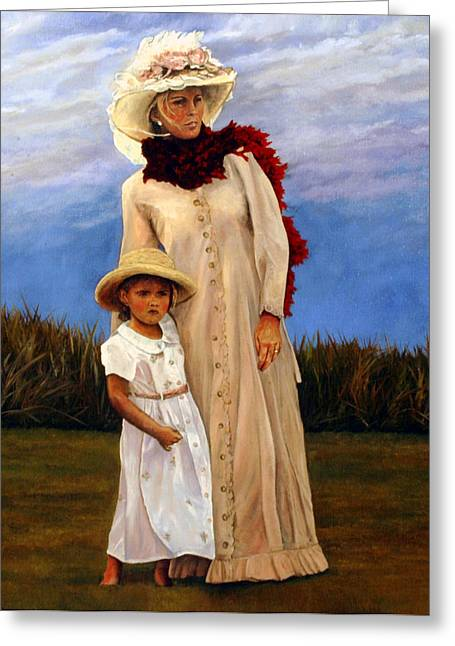 Greeting Card featuring the painting Waiting For Dad's Return by Rick Fitzsimons