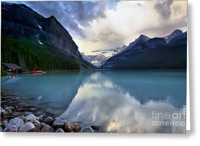 Waiting For Sunrise At Lake Louise Greeting Card by Teresa Zieba