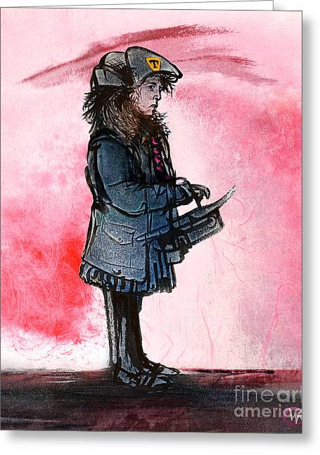 Waiting For The Bus Greeting Card by William Rowsell