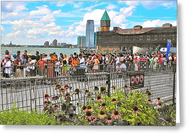 Waiting For The Ferry In Battery Park In New York City-ny Greeting Card