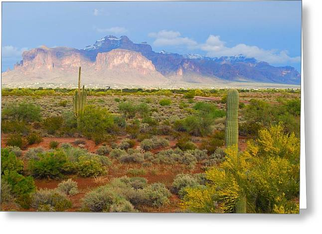 Greeting Card featuring the photograph 16x20 Canvas - Superstition Mountain Light by Tam Ryan