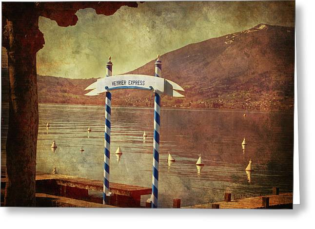 Waiting For The Taxi Boat Greeting Card by Barbara Orenya