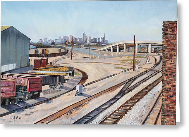 Greeting Card featuring the painting Waiting For The Train by Asha Carolyn Young