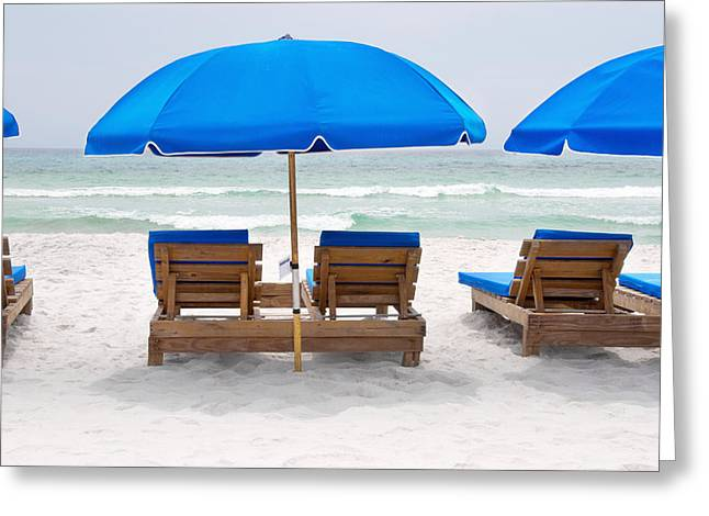 Greeting Card featuring the photograph Panama City Beach Florida Empty Chairs by Vizual Studio
