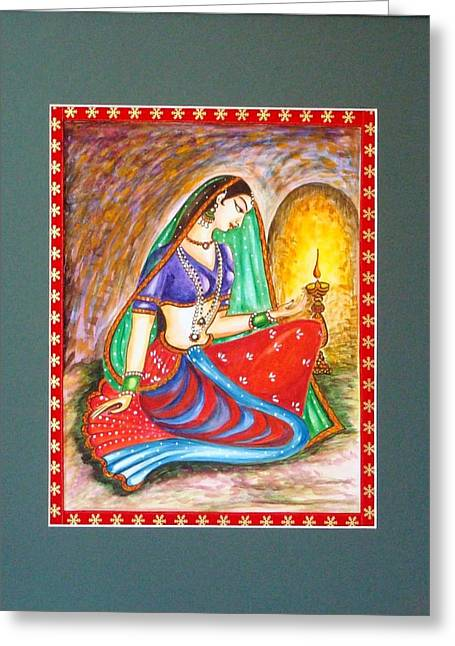 Greeting Card featuring the painting Waiting  by Harsh Malik