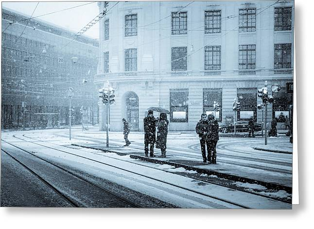 Waiting In The Snowstorm Greeting Card by Yuri Fineart