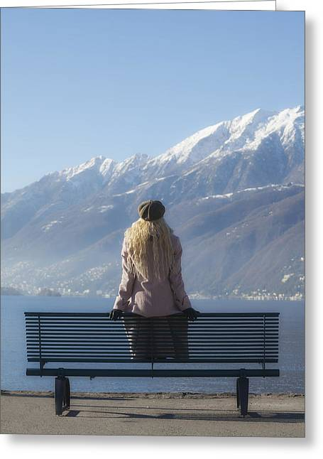 Waiting On A Bench Greeting Card by Joana Kruse