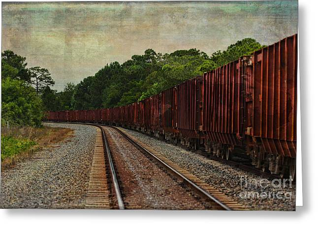 Waiting On The Tracks Greeting Card