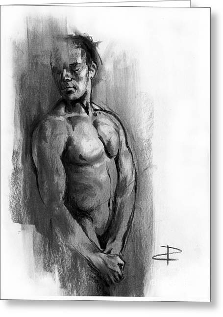 Greeting Card featuring the drawing Waiting by Paul Davenport