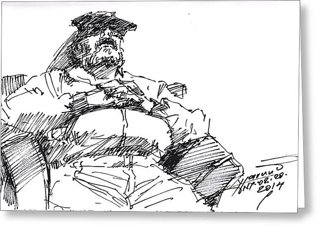 Waiting Room Nap Sketch Greeting Card by Ylli Haruni