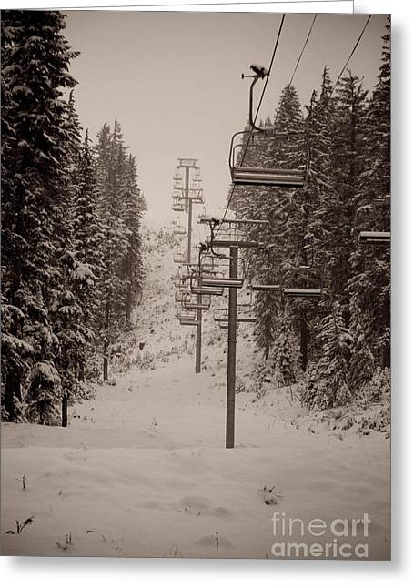 Waiting Ski Lifts Greeting Card by Cari Gesch