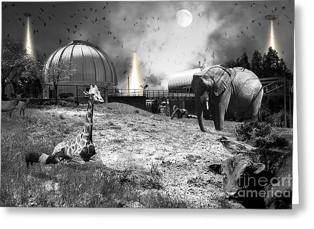 Waiting To Be Abducted By The Visitors At The Chabot Space And Science Center In Oakland Dsc912 Bw Greeting Card by Wingsdomain Art and Photography