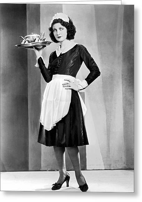 Waitress With Serving Tray Greeting Card by Underwood Archives