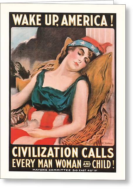 Wake Up America Greeting Card by Presented By American Classic Art