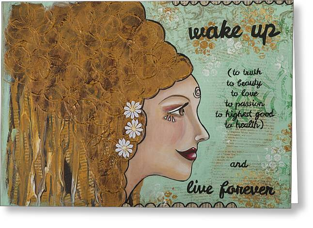 Wake Up Inspirational Mixed Media Folk Art Greeting Card