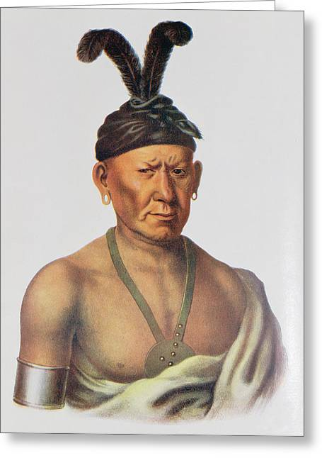 Wakechai Or Crouching Eagle, A Sauk Chief, Illustration From The Indian Tribes Of North America Greeting Card by Charles Bird King