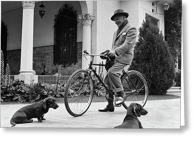 Waldemar Schroder On A Bicycle With Two Dogs Greeting Card by Luis Lemus