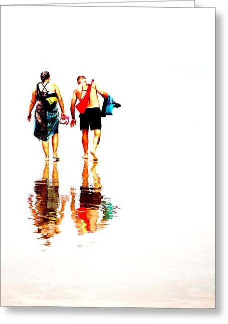 Walk Along The Beach Greeting Card by Andy Fung