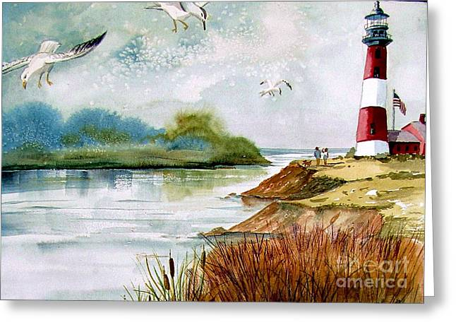 Walk Along The Shore Greeting Card by Marilyn Smith