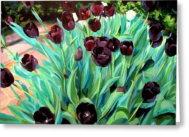 Walk Among The Tulips Greeting Card