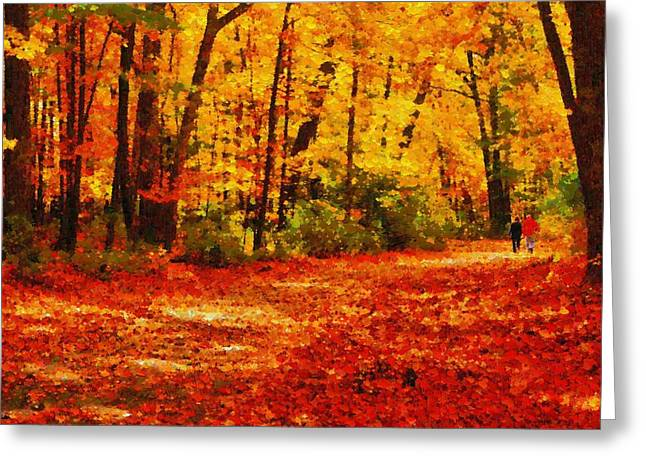 Walk In An Autumn Park Greeting Card by Kai Saarto