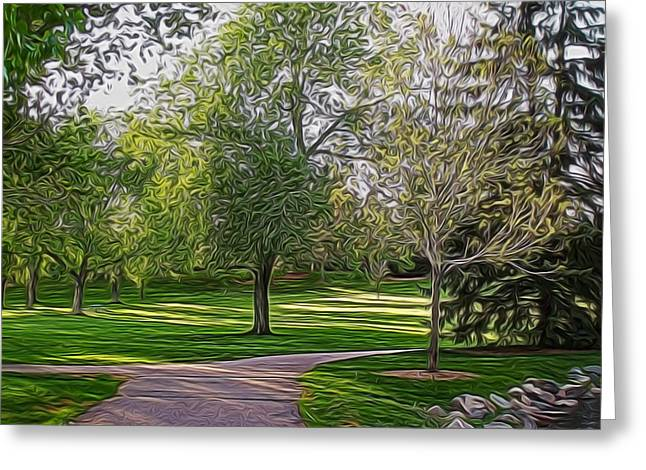 Walk In The Park Digital Art Greeting Card