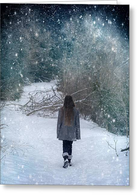Walk In The Snow Greeting Card by Joana Kruse