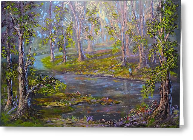 Walk In The Woods Greeting Card by Michael Mrozik