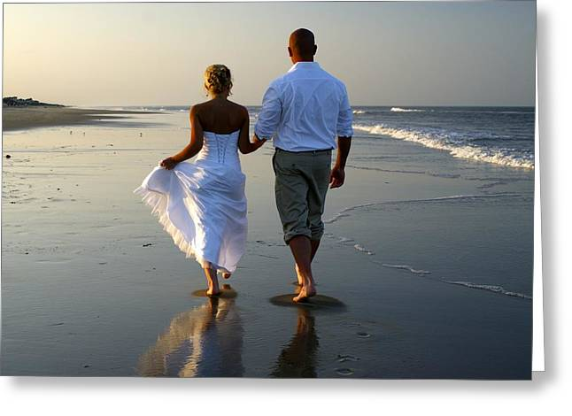 Walk On The Beach Greeting Card by Andrew Johnson