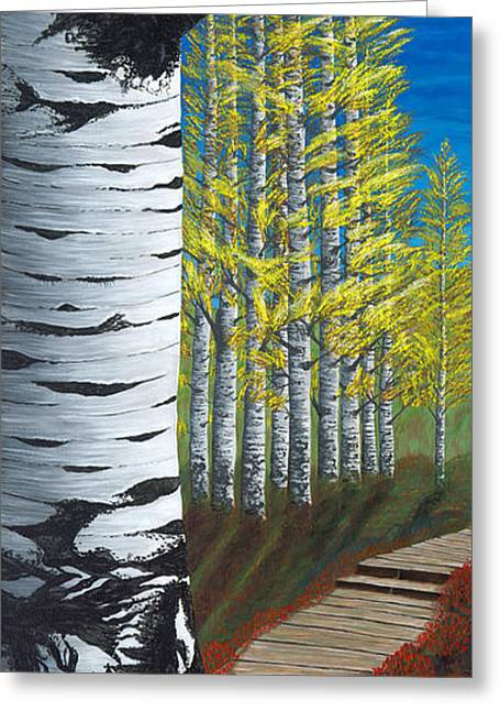 Walk Through Aspens Triptych 1 Greeting Card by Rebecca Parker