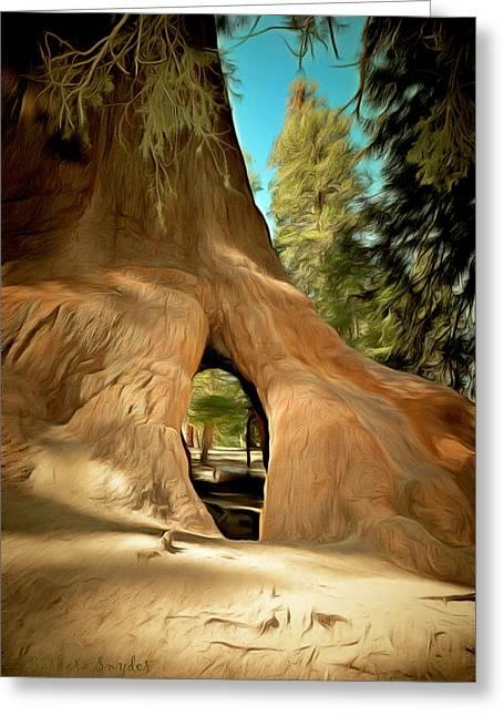 Walk Through Giant Sequoia Tree Greeting Card