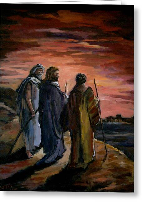 Walk To Emmaus Greeting Card by Carole Foret