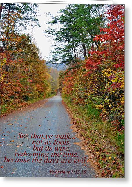 Walk Wisely Greeting Card by Larry Bishop
